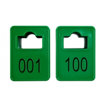 Jetoane dreptunghiulare, verde, 001-100, 50 x 35 mm