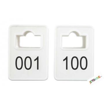 Jetoane dreptunghiulare, alb, 001-100, 50 x 35 mm
