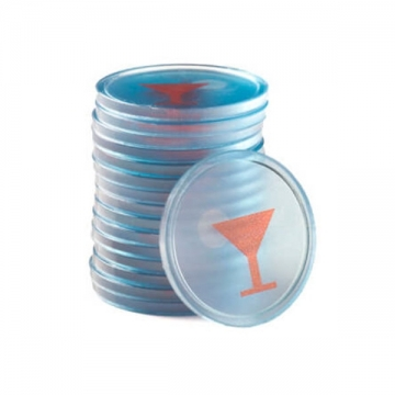 Jetoane promotii, transparente albastru, pahar cocktail, 29 mm