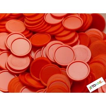 Jetoane garantie, plastic, 27 mm, rosu