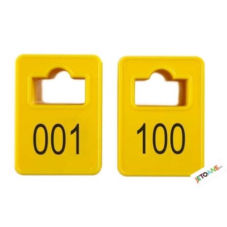 Jetoane dreptunghiulare, galbene, 001-100, 50 x 35 mm
