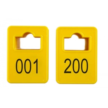 Jetoane dreptunghiulare, galben, 001-200, 50 x 35 mm